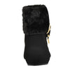 Kids Ankle Boots Fur Cuff Buckle Accent Casual Wedge Shoes Black