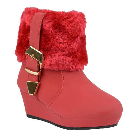 Kids Ankle Boots Fur Cuff Buckle Accent Casual Wedge Shoes Red
