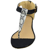Womens Platform Sandals Zebra Print Thong Low Wedge Shoes black