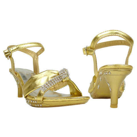 Kids Dress Sandals Knotted Strap Rhinestones High Heel Pageant Shoes Gold
