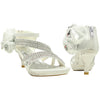 Kids Dress Sandals Assymetrical Strappy Rhineston Back Zipper White