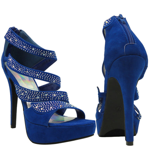 Womens Dress Sandals Strappy Wrap Rhinestones Back Zipper Closure Blue