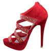 Womens Dress Sandals Strappy Wrap Rhinestones Back Zipper Closure Red