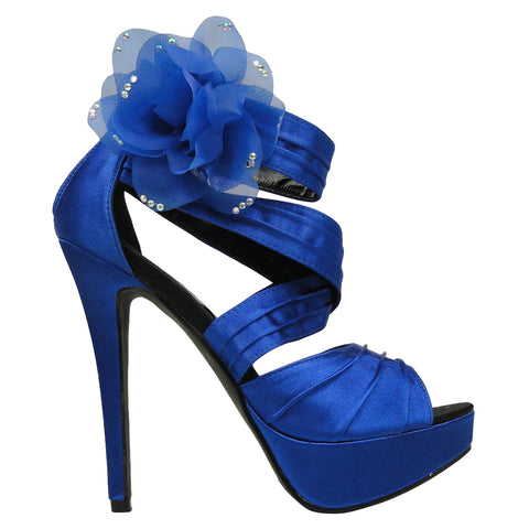 Womens Dress Sandals Strappy Ruched Satin Side Mesh Flower Blue