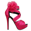 Womens Dress Sandals Strappy Ruched Satin Side Mesh Flower Pink