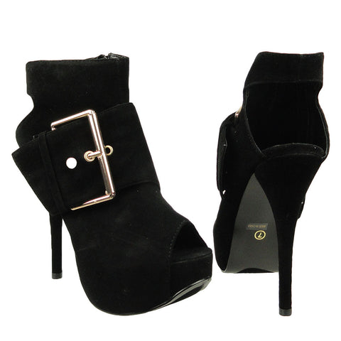 Womens Ankle Boots Suede Gold Buckle Peep Toe High Heel Shoes black