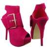 Womens Ankle Boots Suede Gold Buckle Peep Toe High Heel Shoes Pink