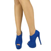 Womens Ankle Boots Suede Peep Toe Platform High Heel Shoes Blue