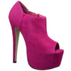 Womens Ankle Boots Suede Peep Toe Platform High Heel Shoes Pink