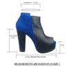 Womens Ankle Boots Weaved Leather and Suede Chunky Platform Shoes Blue