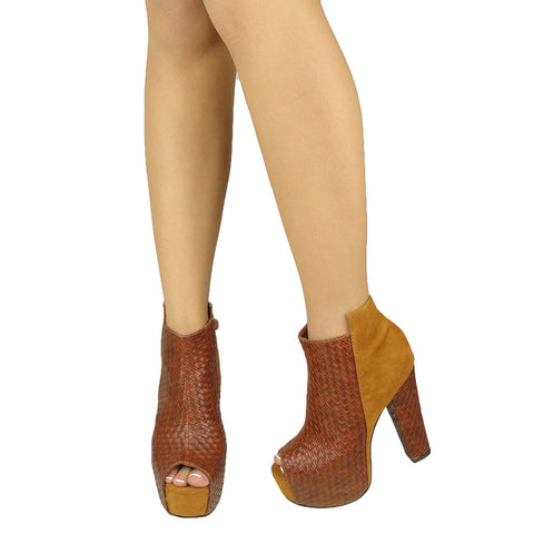 Womens Ankle Boots Weaved Leather and Suede Chunky Platform Shoes Brown
