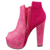 Womens Ankle Boots Weaved Leather and Suede Chunky Platform Shoes Pink