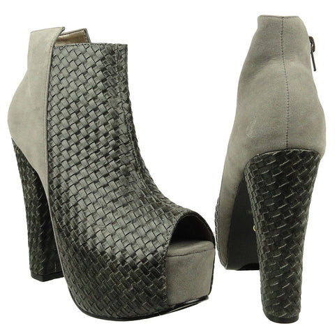 Womens Ankle Boots Weaved Leather and Suede Chunky Platform Shoes Gray