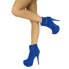 Womens Ankle Boots Buckle Sexy Hidden Platform High Heel Shoes Blue