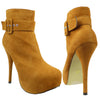 Womens Ankle Boots Buckle Sexy Hidden Platform High Heel Shoes Brown