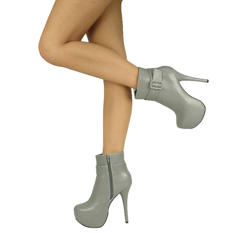 Womens Ankle Boots Buckle Sexy Hidden Platform High Heel Shoes Gray