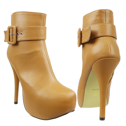 Womens Ankle Boots Buckle Sexy Hidden Platform High Heel Shoes Light Brown