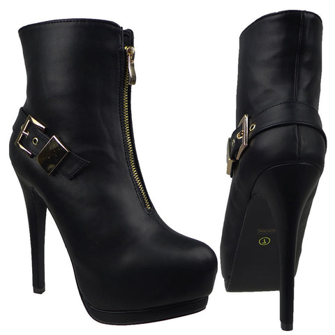 Womens Ankle Boots Sexy Double Platform Buckle High Heel Shoes Black