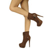 Womens Ankle Boots Sexy Double Platform Buckle High Heel Shoes Brown