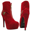 Womens Ankle Boots Sexy Double Platform Buckle High Heel Shoes Red