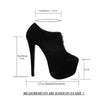 Womens Ankle Boots Closed Toe High Heel Zip Up Platform Dress Shoes black