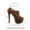 Womens Ankle Boots Closed Toe High Heel Zip Up Platform Dress Shoes Brown