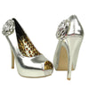 Womens Dress Sandals Patent Peep Toe Flower Rosette High Heel Shoes Silver
