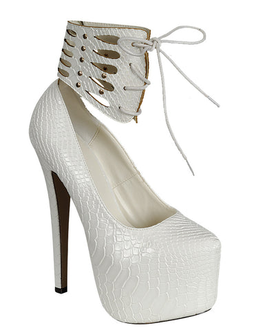 Womens Platform Shoes Ankle Wrap Studded Snake Print Stiletto Pumps White