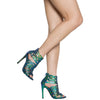Womens Dress Shoes Snake Print Cut Out Open Toe Stilettos Green