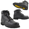 Mens Boots Oil Resistant Leather Work Hiking Padded Shoes Black
