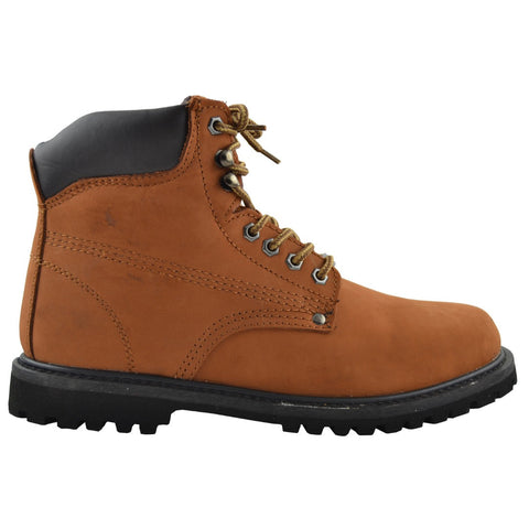 Mens Boots Oil Resistant Leather Work Hiking Padded Shoes Cognac