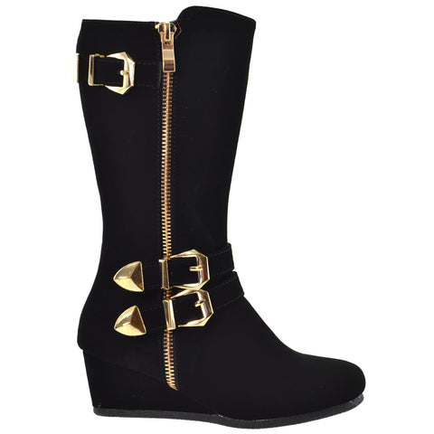 Girls Boots Mid Calf Knee High Wedge Heels Buckles Zipper Black