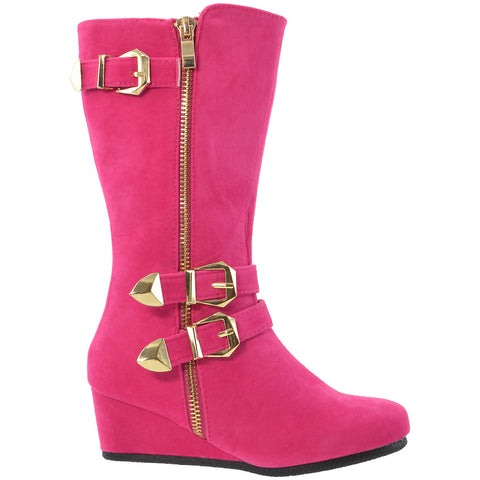 Girls Boots Mid Calf Knee High Wedge Heels Buckles Zipper Pink