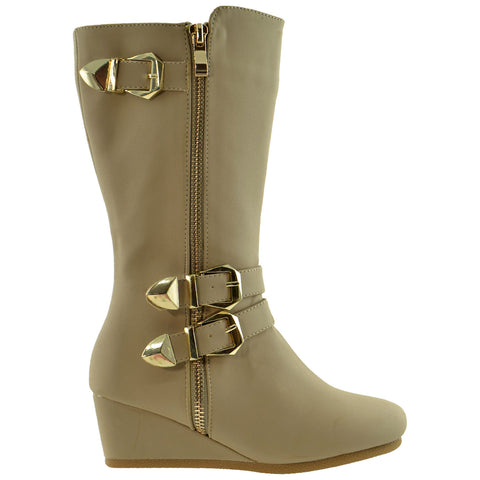 Kids Knee High Boots Wedge Heel Gold Buckles Accent Taupe