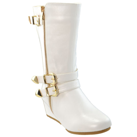 Girls Boots Mid Calf Knee High Wedge Heels Buckles Zipper White