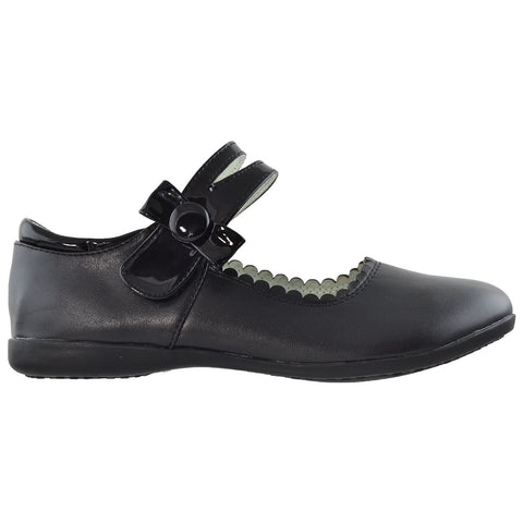 Kids Ballet Flats Mary Jane Bow Accent Casual Comfort Shoes Black
