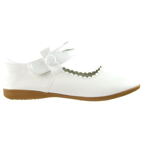 Kids Ballet Flats Mary Jane Bow Accent Casual Comfort Shoes White