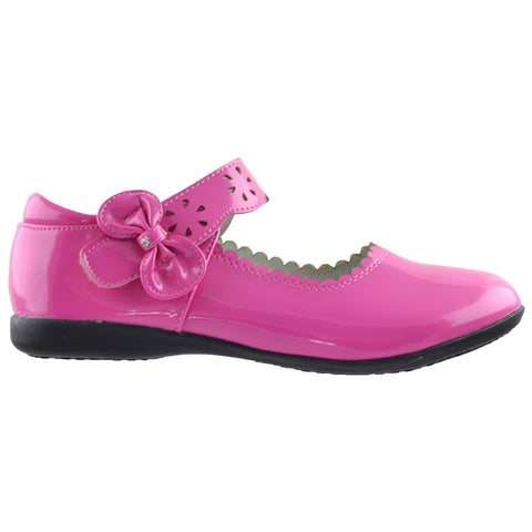 Kids Ballet Flats Scalloped Mary Jane Casual Comfort Shoes Fuchsia