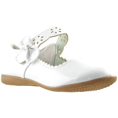 Kids Ballet Flats Scalloped Mary Jane Casual Comfort Shoes White