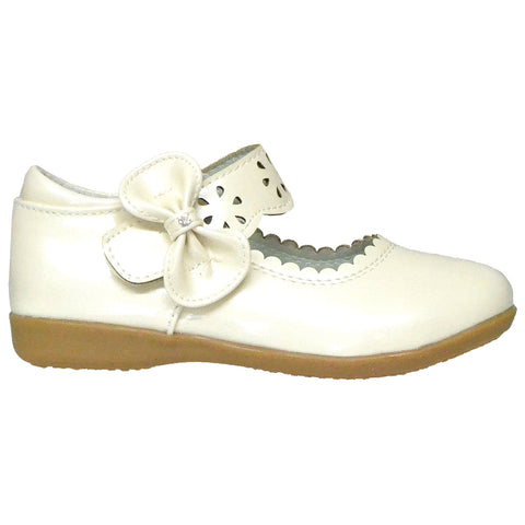 Kids Ballet Flats Scalloped Mary Jane Casual Comfort Shoes Ivory