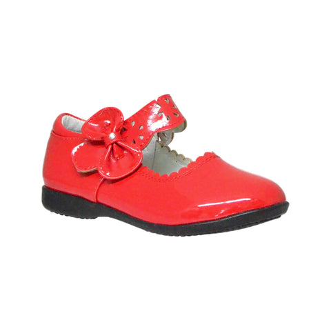 Kids Ballet Flats Scalloped Mary Jane Casual Comfort Shoes Red