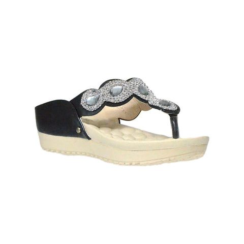 Kids Dress Sandals Rhinestone Flip Flop Comfort Thong Wedges Black
