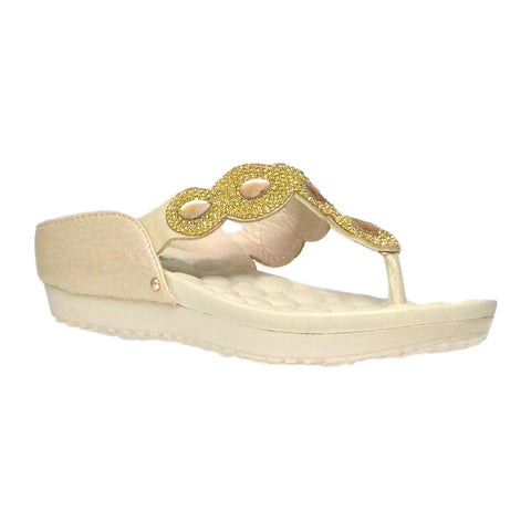Kids Dress Sandals Rhinestone Flip Flop Comfort Thong Wedges Gold