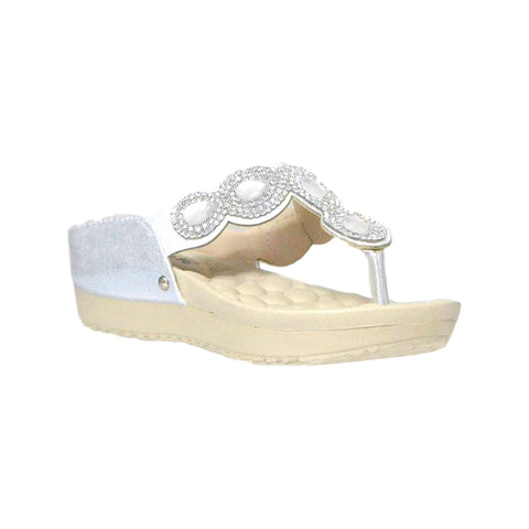 Kids Dress Sandals Rhinestone Flip Flop Comfort Thong Wedges Silver