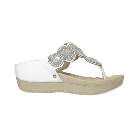 Kids Dress Sandals Rhinestone Flip Flop Comfort Thong Wedges White