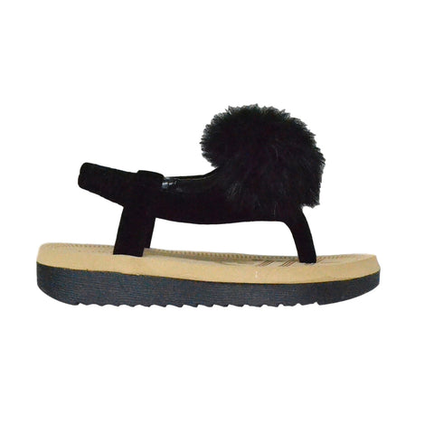 Kids Flat Sandals Slingback Open Toe Flip Flop Thong Wedges Black