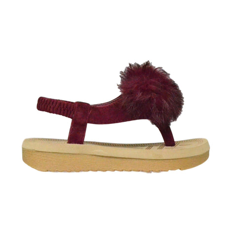 Kids Flat Sandals Slingback Open Toe Flip Flop Thong Wedges Burgundy
