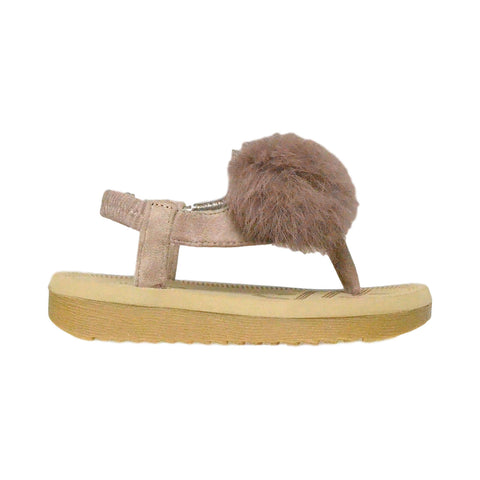 Kids Flat Sandals Slingback Open Toe Flip Flop Thong Wedges Taupe
