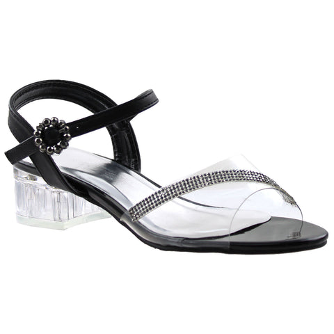 Girls Rhinestone Block Heel Sandals Black