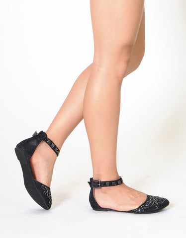 Womens Ballet Flats Ankle Strap